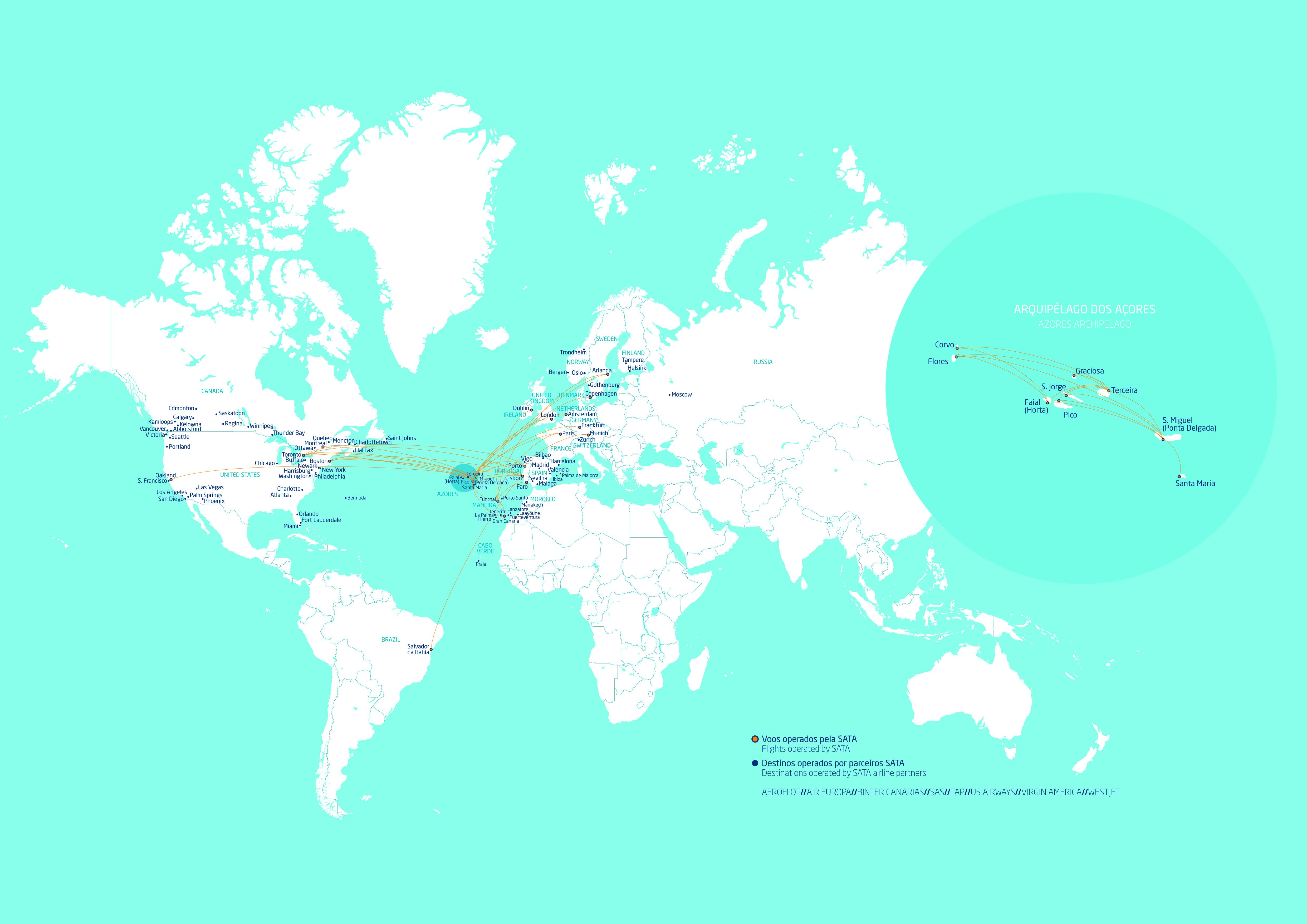 SATA Internacional and Partners Routes Map | SATA 4 AGENTS